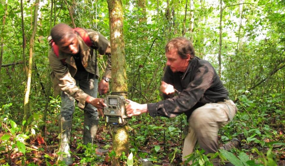 CCS researchers placing camera traps